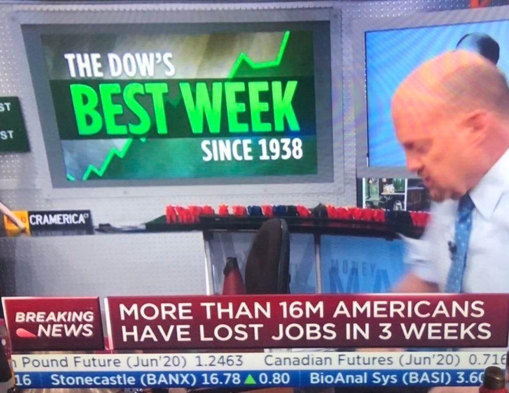 Больше 16 миллионов американцев потеряли работу за 3 недели, но индекс Dow показывает лучший рост за неделю с 1938 года