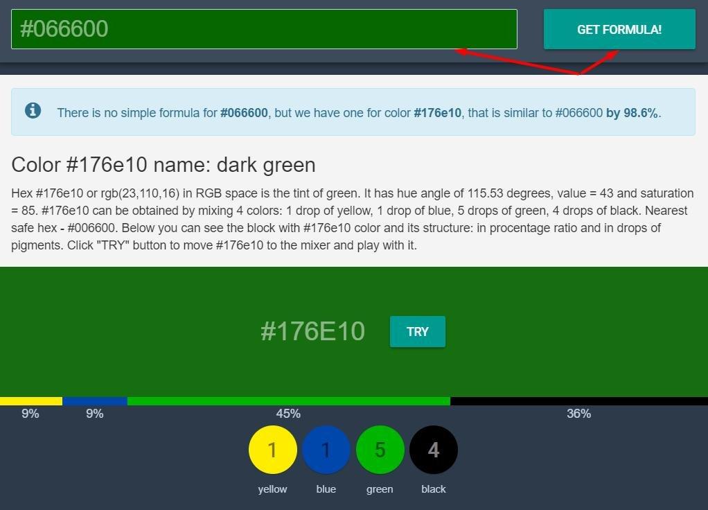выбираем на цветовом круге необходимый, жмем get formula, сайт дает состав выбранного цвета из базовых.