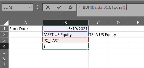BDH =BDH(B2,B3,B1,BToday()) Возвращает исторические значения PX_LAST к индексу MSFT US Equity c 5/19/2021 по сегодня