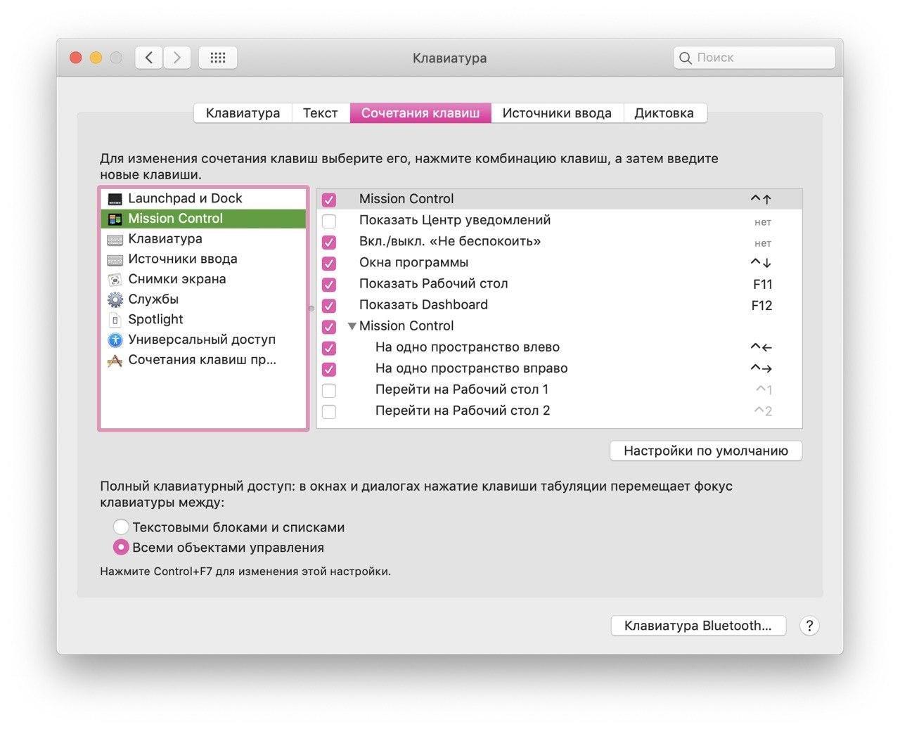Полный клавиатурный доступ: между всеми объектами
