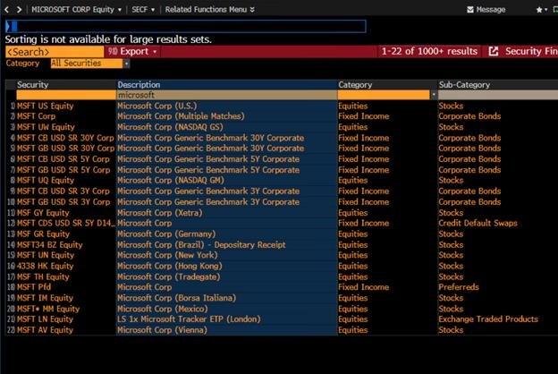 """В функции SECF смотрим какие индексы есть с """"microsoft"""". Видим, что кроме акции и ADR есть Corp (облигации) и CDS (ставки на дефолт) и ETP(аналог ETF). Microsoft – популярная тема"""