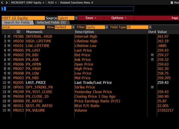 """В функции FLDS  смотрим какие есть поля с """"price"""" для индекса MSFT US Equity"""