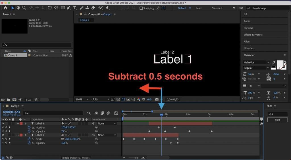 Кнопка для After Effects, которая перемещает слои и кейфреймы во времени